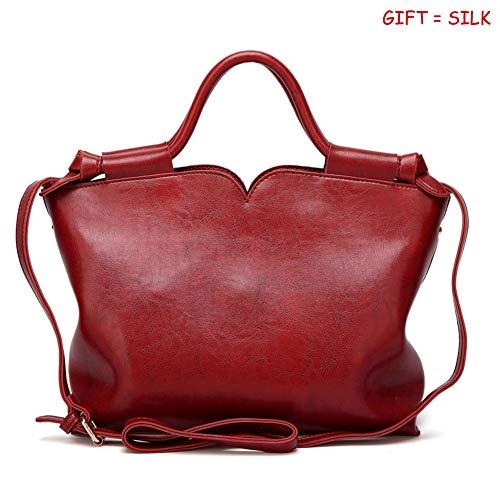 Tote red Designer Leather Bag Handle Satchel D Ladies Shoulder Womens Handbags and Capacity Handbags PU Purses Top Large QUEENTOO UY8PqwU
