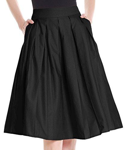 (Yige Women's Vintage High Waist Flared Skirt Pleated Floral Print Midi Skirt with Pocket Black-XL)