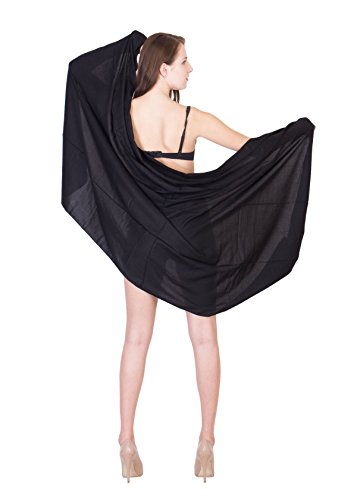 Linen Clubs Sarongs Viscose Black Solid Color Womens Swimsuit Cover-up Sarong (Sarong Beachwear)