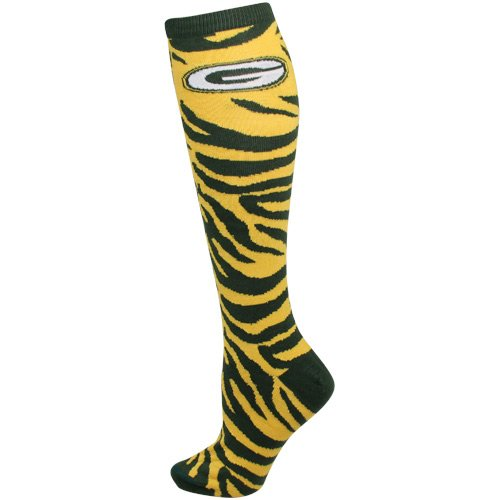 green bay packers ladies zebra print knee sock apparel