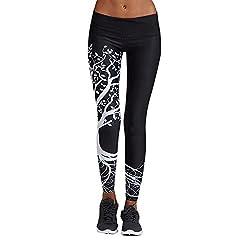 Jjliker Women Pattern Printing Yoga Pants Full Length Elastic Skinny Trouser Gym Fitness Exercise Athletic Leggings Black
