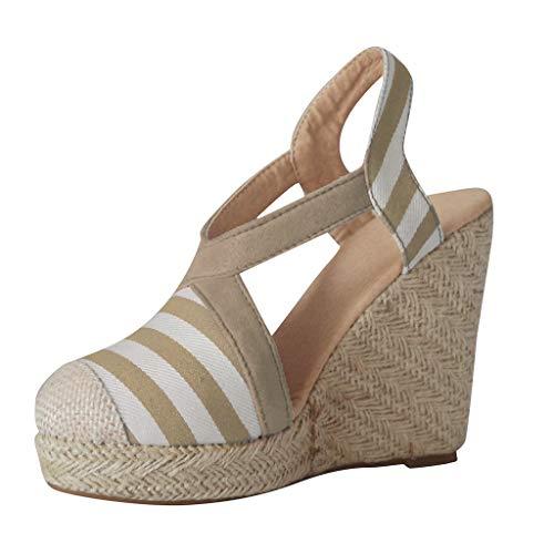 (Crisscross Elastic Band Summer Sandals,LYN Star❤ღ♕ Womens Wedge Sandals Ankle Strap Cap Toe Espadrille Wedge Sandal Beige)