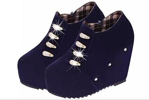 Donne YCMDM di New Tacchi alti moda scarpe Slope singoli pattini , blue , 38