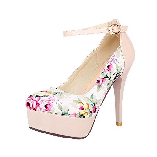 MissSaSa Damen elegant Plateau Knöchelriemchen Pumps mit Stiletto aus Lackleder assorted colors Stoffdruck high-heel Schnalle Kleidschuhe Beige