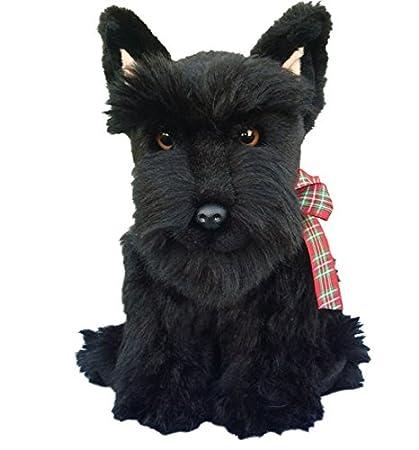 Floppy negro Terrier escocés Scottie de perro de peluche de peluche de juguete (L)