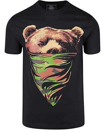 ShirtBANC OVC California Camouflage Bandana Bear Mens T Shirt (Black, L)