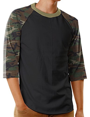 Hat and Beyond Mens Baseball Raglan 3/4 Sleeves T Shirts Casual Cotton Jersey S-3XL (Large, Black/Camouflage)