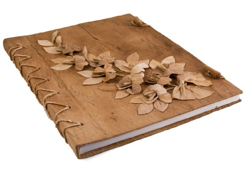 Life Arts Flaura Extra Large Natural Handmade Journal, Plain Pages (35cm x 28cm x 2cm) (Album Wedding Photo Natural)