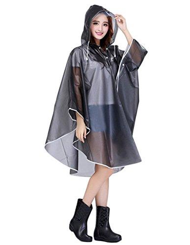 Unicolore Permable De Capuchon Femme Grau Manteau Outdoor Marche L'Air Pluie Large Pluie De Vetement Mode Cape Poncho Grande Taille lgant Basic Veste Pluie De Impermable Pqxzqp1w