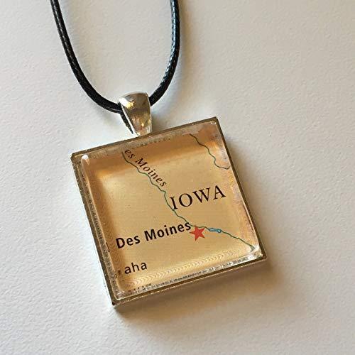 DES Moines Iowa USA Polk County Map Square Pendant Silver Necklace Atlas -