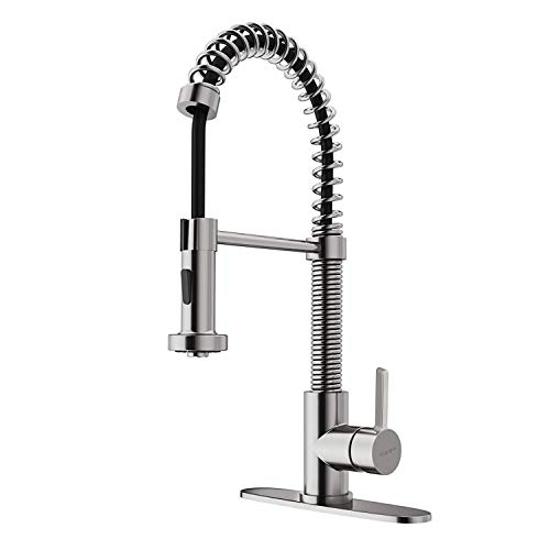 1 Hole Nickel Plated - cUPC Commercial Stainless Steel Kitchen Faucet with Pull Down Sprayer, Single Handle High Arc Spring Kitchen Sink Faucet, Single lever Brushed Nickel kitchen faucet 1 or 3 holes with Deck Plated