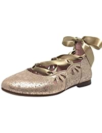 Chupetin Girl's 9347 Shimmer Spider Taupe Suede Lace Up Ribbon Ballet Flats