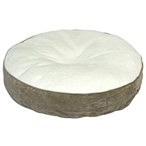 B004QTOBXI4 Happy Hounds Scout Deluxe Round Dog Bed, Extra Small 24-Inch, Birch/Sherpa