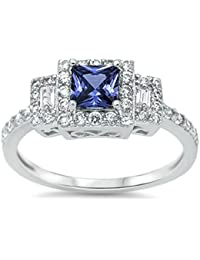 Halo Engagement Ring Princess Cut Simulated Sapphire Emerald Cut Cubic Zirconia 925 Sterling Silver