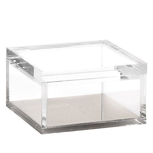 Acrylic & Silver Odds & Ends Box - A Classic Modern Design to Help Organize and Brighten Up Your Desk - Elegant Office Accessory - Box Gift Silver Classic