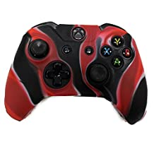 HDE Xbox One Controller Skin Protective Silicone Gel Rubber Grip Cover for Wireless Gaming Controllers (Marble Black/Red)