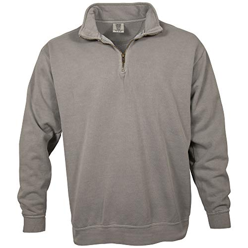 Comfort Colors Men's Adult 1/4 Zip Sweatshirt, Style 1580, Grey, Small