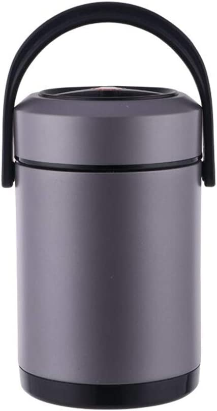 Fatmingo Insulated Food Container 304 Stainless Steel Vacuum Insulation Food Jar 3 Compartments BPA-Free Thermal Lunch Box Black 54oz