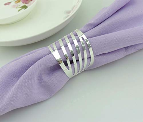 DOCOLA 10pcs Napkin Ring Metal Silver Plated Through Napkin Holder Hotel Wedding Holiday Table - Silver Grapevine Plated