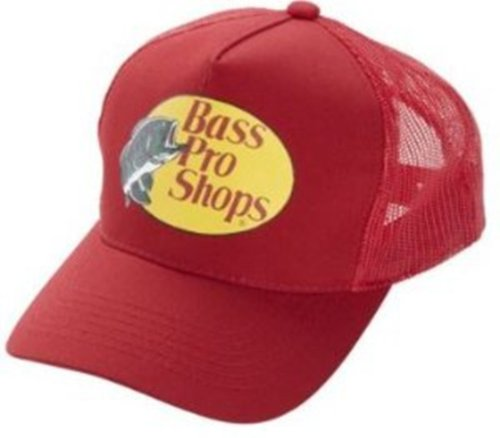 Bass Pro Shop Men's Trucker Hat Mesh Cap - One Size Fits All Snapback Closure - Great for Hunting & Fishing (Red)