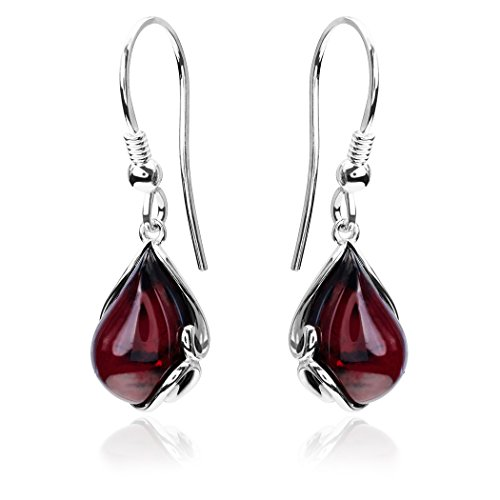 Black Cherry Amber Sterling Silver Fishhook Earrings