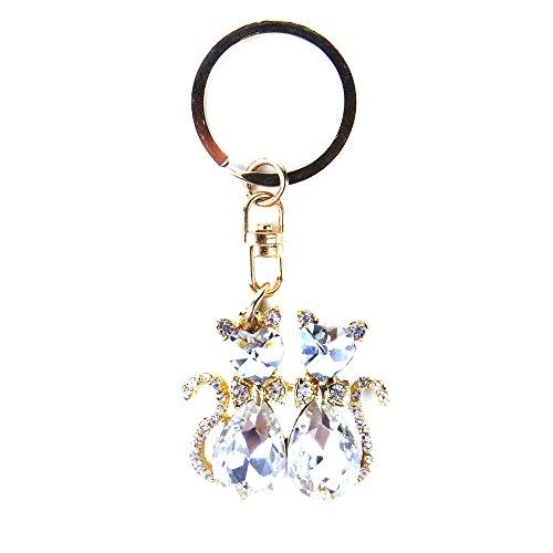 JAVOedge Gold and Crystal Gemstone Two Cat Stylish Keychain / Keyring Gemstone Gold Keychain