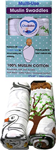 Sumersault Throw - Muslin Cotton Baby Swaddle Blanket Set 2 Pack Unisex with Corner Snaps for Secure Nursing, Stroller, Car Seat, and Carrier Cover