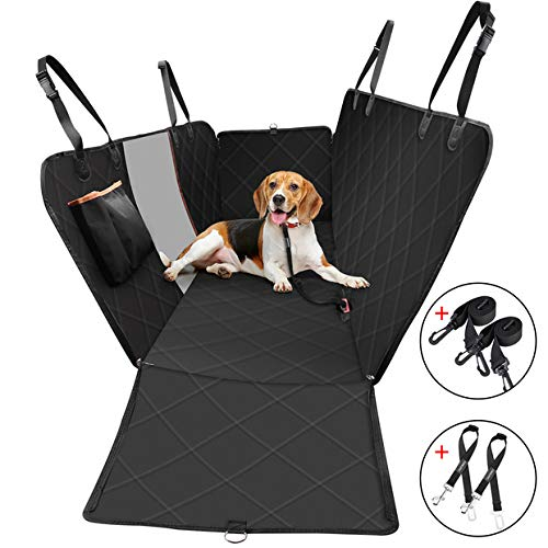OMORC Dog Car Seat Covers, Non-Scratch & Non-Slip Dog Seat Cover with Mesh Window & Storage Pocket, Easy to Install & Clean, Durable Pet Back Seat Cover for Car, Truck and SUV(2 Seat Belt)