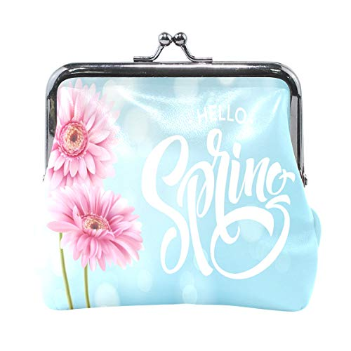 (Gerbera Flower Background And Spring Lettering Pouch Small Wallet - Kiss-lock Change Coin Purse Wallets for Women Girl)