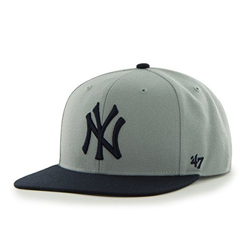 Yankees Pinstripe Hat - MLB New York Yankees Sure Shot Two Tone Captain Wool Adjustable Hat, One Size, Gray