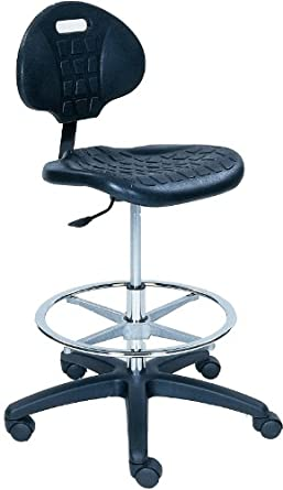 "BodyBilt 1010 F1 Black Poly Plastic Stool with 7.5"" Height Adjustment, 16.5"" Width Backrest, 18.25"" Width Seat, No Arm"