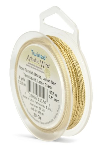 Brass Twisted Wire - Artistic Wire AWS-20T-NTB-08Y 20 Gauge Twist, Round,Tarnish Resistant Brass, 8-Yard