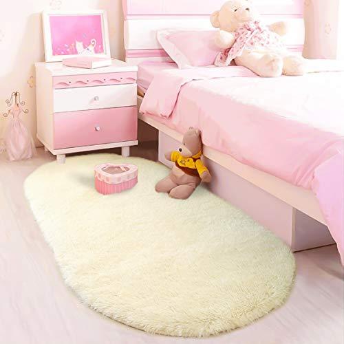 LOCHAS Ultra Soft Children Rugs for Girls Room Mat Modern Shaggy Area Rugs Home Decor 2.6' X 5.3', Creamy ()