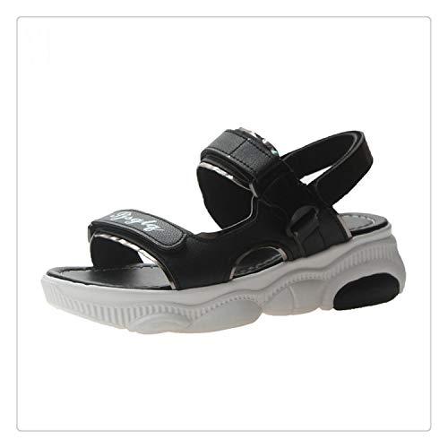 - QQFLRB& Size 35-40 2019 New Summer Letters Sandals Women Flat Heels Soft PU Leather Wild Shoes Women Leisure Platform Female Footwear Black 8