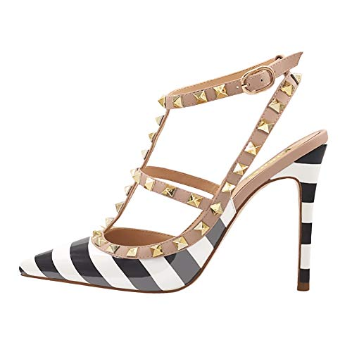 VOCOSI Women's Slingbacks Strappy Sandals for Dress,Pointy Toe Studs High Heels Sandals Shoes P-Zebra 8 US