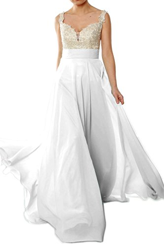 MACloth Women Straps Lace Chiffon Long Ball Gown Prom Formal Dress Wedding Party Blanco