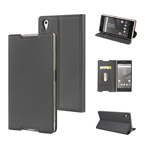 ブレーキ賛辞描くXperia Z5 ケース, Sony Xperia Z5 ケース, MTRONX 軽量 高品質 超薄型 手帳型 マグネット式 保護 カード収納付 スタンド PU レザー ケースSony Xperia Z5 カバー [グレーGrey](MA-GY)