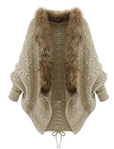 women's Faux Fur collar sweater Coat winter Batwing sleeve knit jacket shawl open front cardigan kint top size (4-8) ()
