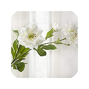 3Heads Long Branch Lotus Flower Artificial Flowers Silk Flower for Wedding Home Party Decoration Fake Flowers,White 73