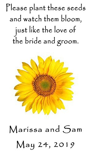 Personalized Wedding Favor Wildflower Seed Packets Sunflower Design 6 verses to choose from Set of ()