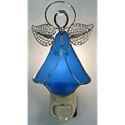 Stained Glass Angel Night Light - Blue