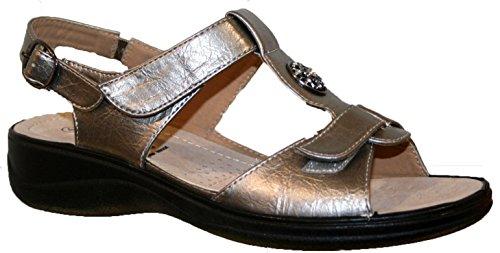 Cushion Walk Leichte Sommersandalen, Damen, mit Klettverschluss Zinnfarben