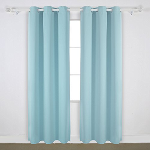 Deconovo Room Darkening Thermal Insulated Blackout Grommet Window Curtain Panel For Bedroom Room Sky Blue 42x95-Inch 1 Panel (96 Inch Light Blue Curtains compare prices)