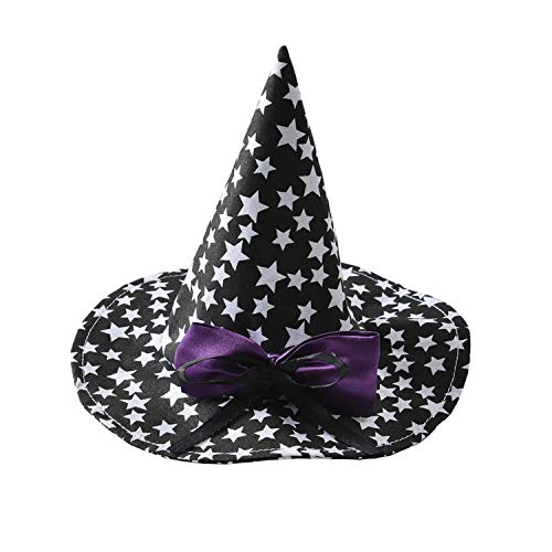 Halloween Pet Hat Decor Cosplay Costume Hats Pet Cat Dog Caps with Bowknot Printed Stars Christmas,Black -
