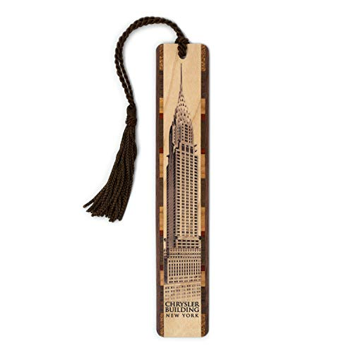 Chrysler Building NYC Printed Directly On Handmade Wooden Bookmark with Inlays and Tassel