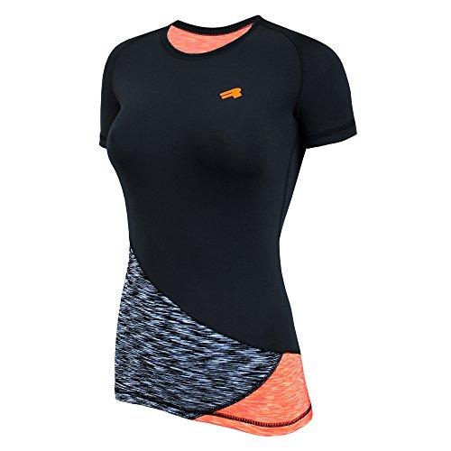ROUGH RADICAL Damen Funktionsshirt T-Shirt Laufshirt REACTION (M, schwarz/grau/orange)