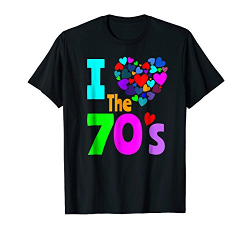 Mens I Love The 70's Shirt 70s Party 1970's Clothes Costume Tee 3XL Black (70 Party Clothes)
