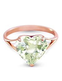 14k Rose Gold Ring with Natural 10mm Heart-shaped Green Amethyst - Size 11