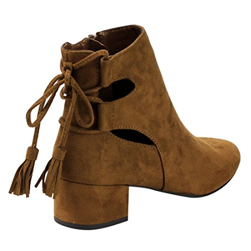 Cityclassified IB84 Womens Cut Out Lace Up Mid Block Heel Ankle Bootie Chestnut sjs5cs0DL