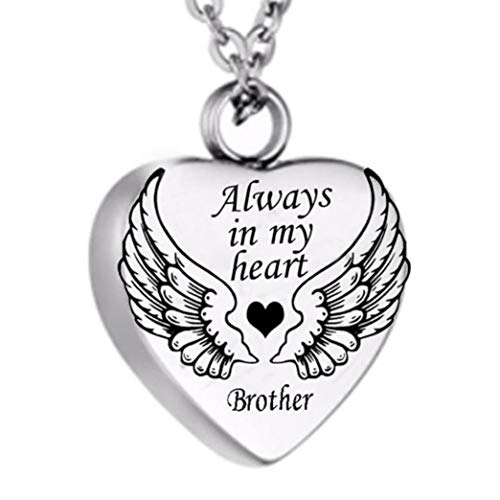 ningbairong Titanium Steel Angel Wing Always in My Heart Cremation Urn Ash Jewelry Keepsake Pendant Necklace